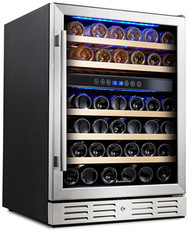 Kalamera Wine Refrigerator 46-Bottle Dual Zone Built-In and Freestanding