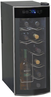 This unique 12-bottle wine chiller is capable of storing eight bottles  horizontally and four vertically. Its tall, slim design allows you to store  ...
